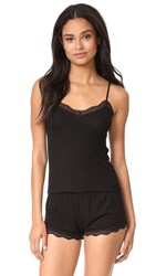 Only Hearts Club Feather Weight Rib Lace Trim Cami Black