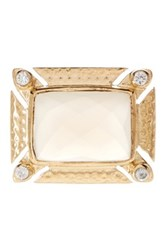 Melinda Maria Carly Cz And White Onyx Ring Metallic