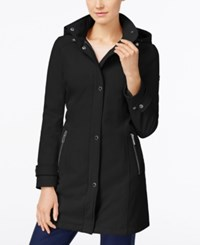 Calvin Klein Petite Hooded Softshell Raincoat Black