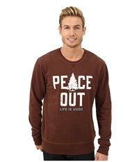 Life Is Good Go To Crew Neck Shirt Chestnut Brown Men's Long Sleeve Pullover