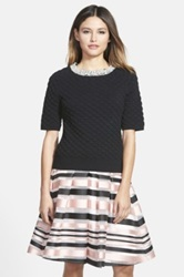 Pink Tartan Beaded Neck Quilted Top Black