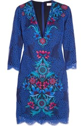 Matthew Williamson Embroidered Guipure Lace Mini Dress Blue