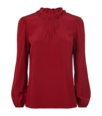 Red Valentino Ruffle Collar Silk Blouse Female Red