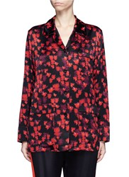 Givenchy Floral Print Silk Satin Pyjama Shirt Red