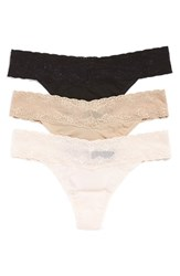 Women's Natori 'Bliss Perfection' Lace Trim Thong 3 Pack