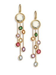 Marco Bicego Jaipur Semi Precious Multi Stone And 18K Yellow Gold Three Strand Drop Earrings