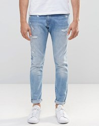 G Star 3301 A Super Slim Jeans Distressed Repair Light Aged Lt Aged Restored 46 Blue