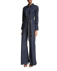 7 For All Mankind Chambray Zip Front Jumpsuit Indigo