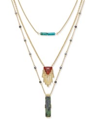 Inc International Concepts Gold Tone Mixed Pendant Layered Necklace Only At Macy's