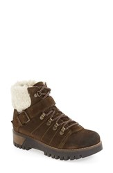 Bos. And Co. Women's 'Gail' Waterproof Platform Boot Olive Off White Oil Suede