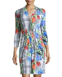 Catherine Catherine Malandrino Tinka Floral 3 4 Sleeve Dress All Over Floral