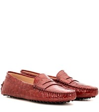 Tod's Gommini Embossed Patent Leather Loafers Red