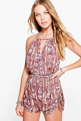 Boohoo Aztec Print Ruched Side Playsuit Multi