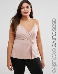 Asos Curve Long Line Cami Top With Knot Waist Pink