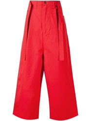 Craig Green Wide Leg Belted Trousers Red