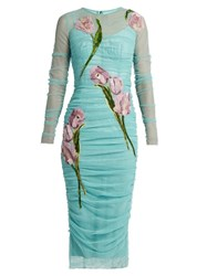 Dolce And Gabbana Tulip Applique Long Sleeved Tulle Dress Light Blue