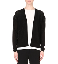 Reiss Porty Waffle Knit Cardigan Black White
