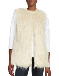 Design Lab Lord And Taylor Long Faux Fur Vest Ivory