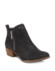 Lucky Brand Zipped Perforated Leather Booties Black