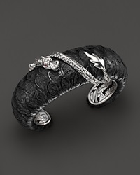 John Hardy Women's Sterling Silver Naga Medium Squeeze Cuff With Exotic Skin And African Ruby Eyes Silver Black