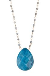 Spring Street Teardrop Stone Pendant Necklace Blue