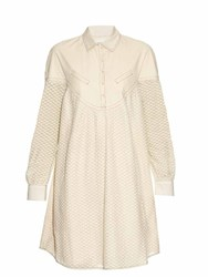 Cecilie Copenhagen Florence Long Sleeved Cotton And Silk Blend Dress Ivory
