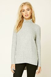 Forever 21 Marled Knit Turtleneck Sweater Heather Grey