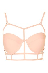 Strappy Cage Detail Bikini Top By Rare Pink