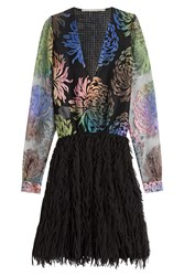 Marco De Vincenzo Dress With Embroidered Mesh Top Multicolor