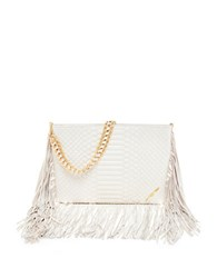 Brian Atwood Nepal Embossed Leather Bag White