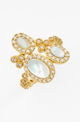 Freida Rothman Cluster Cocktail Ring Gold Mother Of Pearl