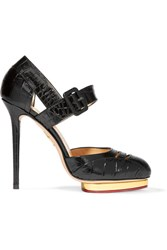 Charlotte Olympia Divia Cutout Croc Effect Leather Platform Pumps Black