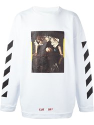Off White 'Painting' Print Striped Sweatshirt White