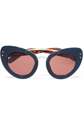Erdem Linda Farrow Cat Eye Acetate Sunglasses Blue