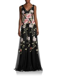David Meister Floral Embroidered Gown Black Pink