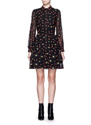 Alice Olivia 'Enid' Floral Embroidered Chiffon Shirt Dress Black