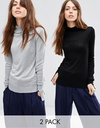 Asos Jumper With Turtle Neck In Soft Yarn 2 Pack Save 20 Mid Grey Black Multi