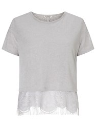 Miss Selfridge Lace Split Back T Shirt Grey