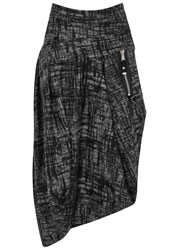 High Radius Asymmetric Printed Felt Skirt Grey