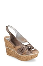 Women's Love And Liberty 'Audra' Slingback Wedge Pewter Leather
