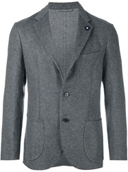 Lardini Stitching Panel Blazer Grey