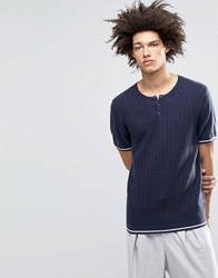Asos Knitted Tshirt With Grandad Neck In Merino Wool Mix Navy Ivory Stripe