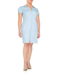 Lafayette 148 New York Plus Size Camber Shirtdress Ice Water