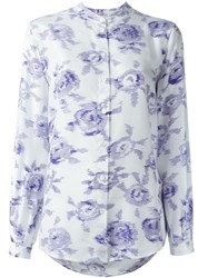 Equipment Rose Print Shirt Blue