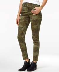 Tinseltown Juniors' 2 Button High Waist Colored Skinny Jeans Moss Camo Printed