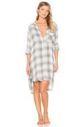 Bella Dahl Oxford Plaid Sleep Shirt Gray