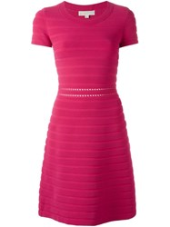 Michael Michael Kors Ribbed Knit Dress Pink And Purple