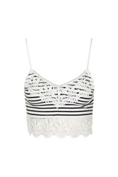 Topshop Crochet Trim Striped Bralet Navy Blue