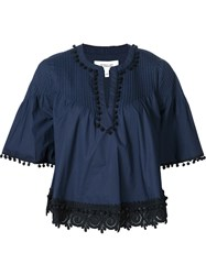 Derek Lam 10 Crosby Embroidered Detail Tunic Blue