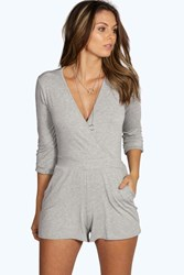 Boohoo Self Belt Relaxed Fit Playsuit Grey Marl